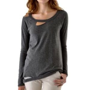 Chaser deconstructed charcoal gray tee shirt